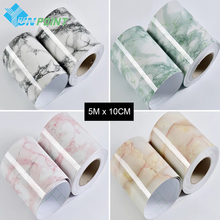 0.1x5M Marble Tiles Wall Stickers Creative DIY Home Decor Bathroom Toilet PVC Waterproof Decorative Wall Papers For Living Room