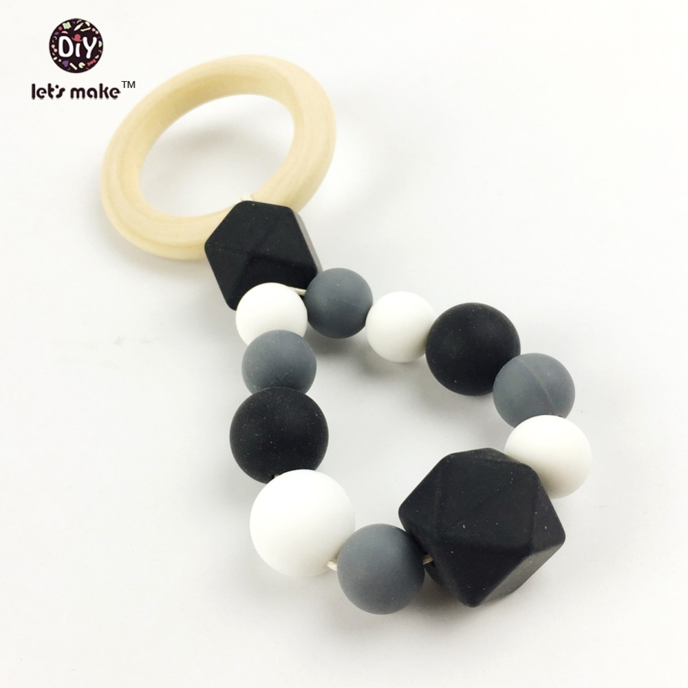 Lets make Baby teether silicone teether wooden toys pram toy teething raw wood silicone beads crib baby capsule hanging toy