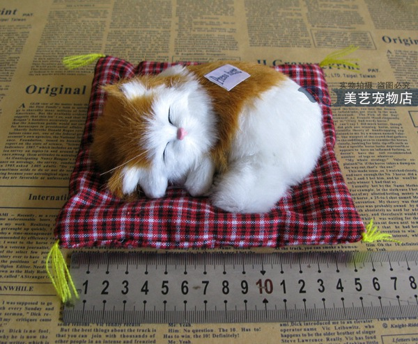 new cute simulation sounds cat lifelike mini yellow&white cat model about 16x14cm