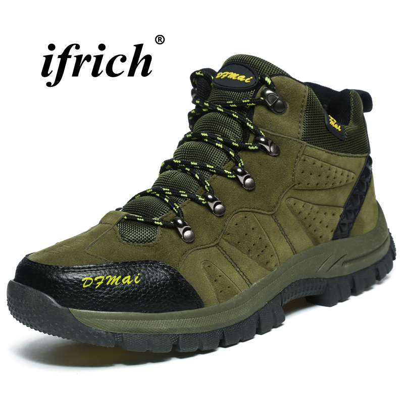 Man Hiking Shoes Large Size 36-48 Climbing Boots Men Army Green Brown Camping Shoes Autumn Winter Anti-slip Tactical Sneakers 2018 climbing boots for men brown man hiking shoes rubber bottom tactical boots male anti slip lace up man mountain shoes