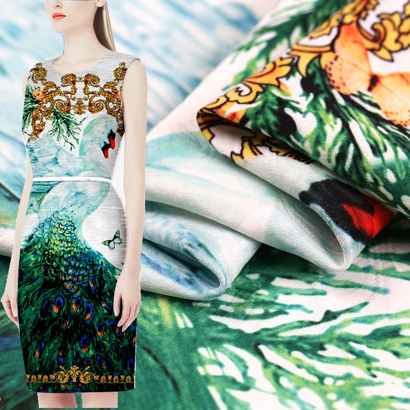98 * 140 CM / pcs Francia pintura otoño digital impresa jacquard tela de moda para el vestido tissu au metro brillante tela DIY
