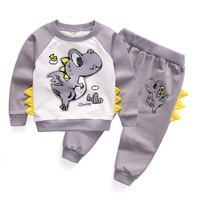 2017 Baby Boys Girls Dinosaur Clothing Sets Cotton Top Pants Sport Suits For Toddler Animal Tracksuits