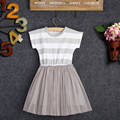 Summer fashion girls dresses cotton knee length stripe dress for cute girls casual short sleeves o-neck kids clothes