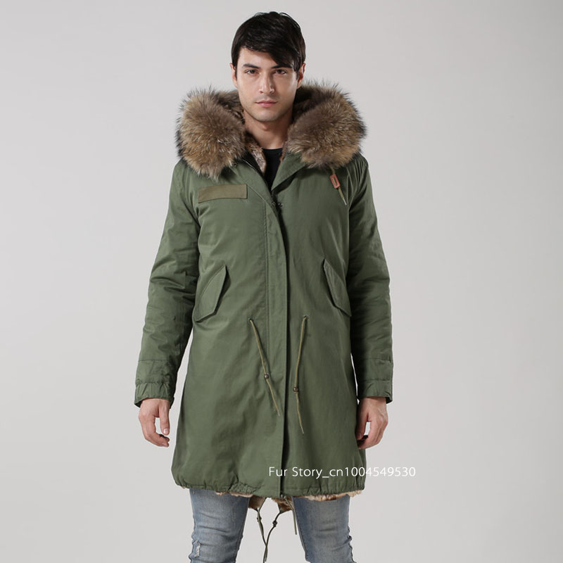 Men Parka Jacket Faux Fur Coat With Real Raccoon Fur Collar Hooded ...