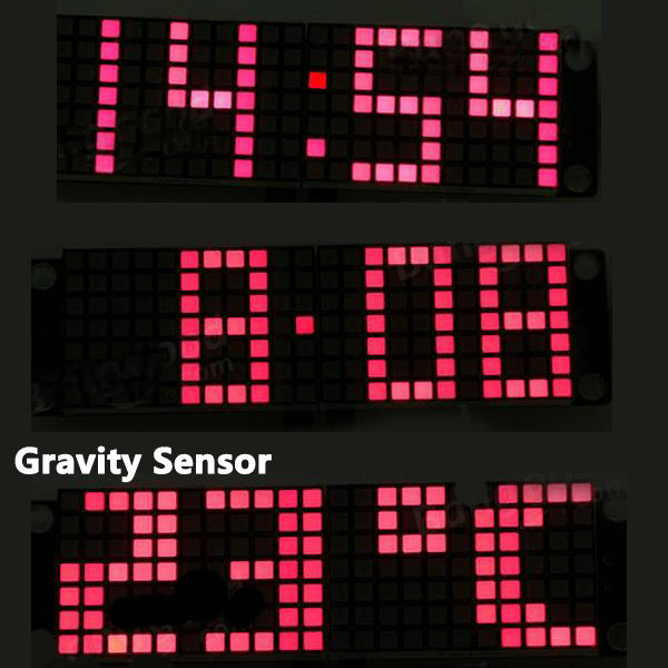 Display time after rotating DIY DS3231 Gravity Sensor LED Digital Phantom Clock Kit temperature display
