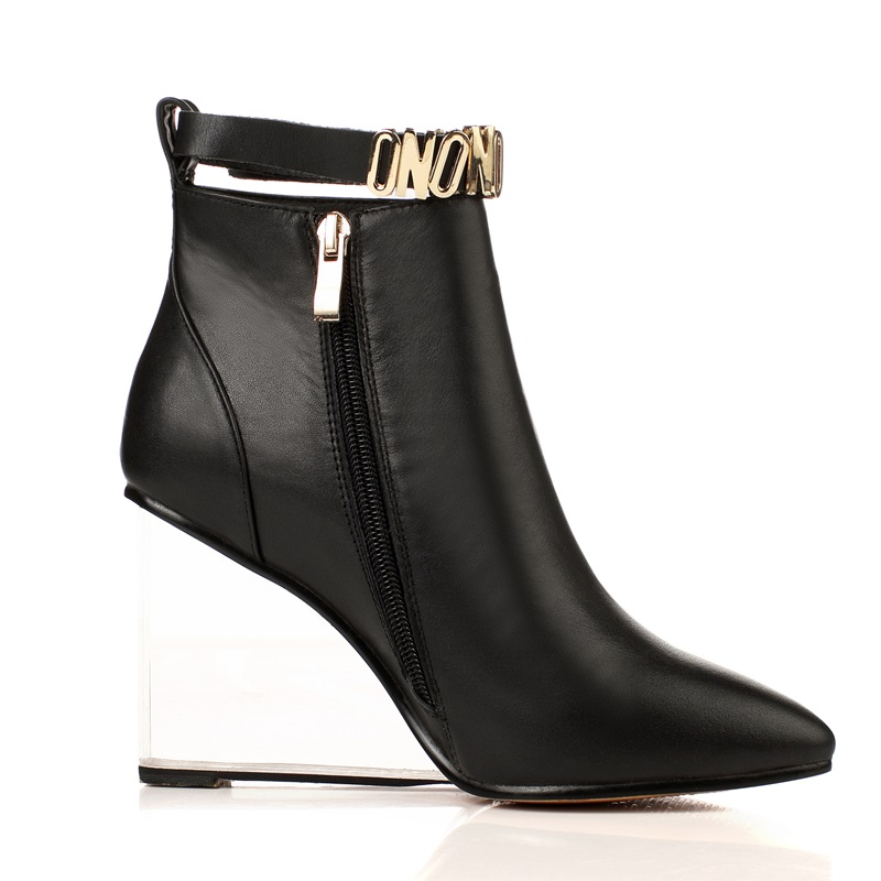 EGONERY women shoes crystal heel ankle boots side zipper sequined riding equestrian boots pointed toe metal buckles shoes 5