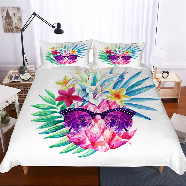 Bedding Set 3D Printed Duvet Cover Bed Set Pineapple Home Textiles for Adults Lifelike Bedclothes with Pillowcase #BL01