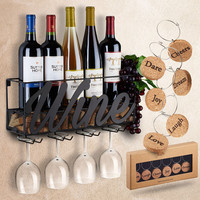 Wall Mounted Wine Rack with Bottle & Glass Holder and Cork Storage Store