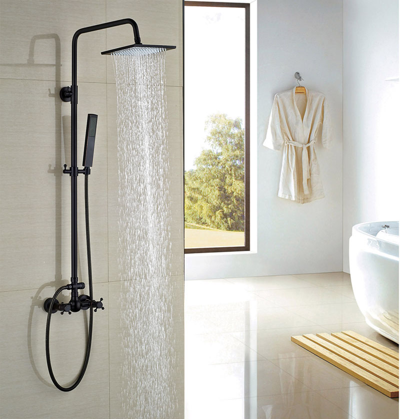 Oil Rubbed Bronze Shower Faucet Bath Rainfall Shower Head With Hand Shower Exposed