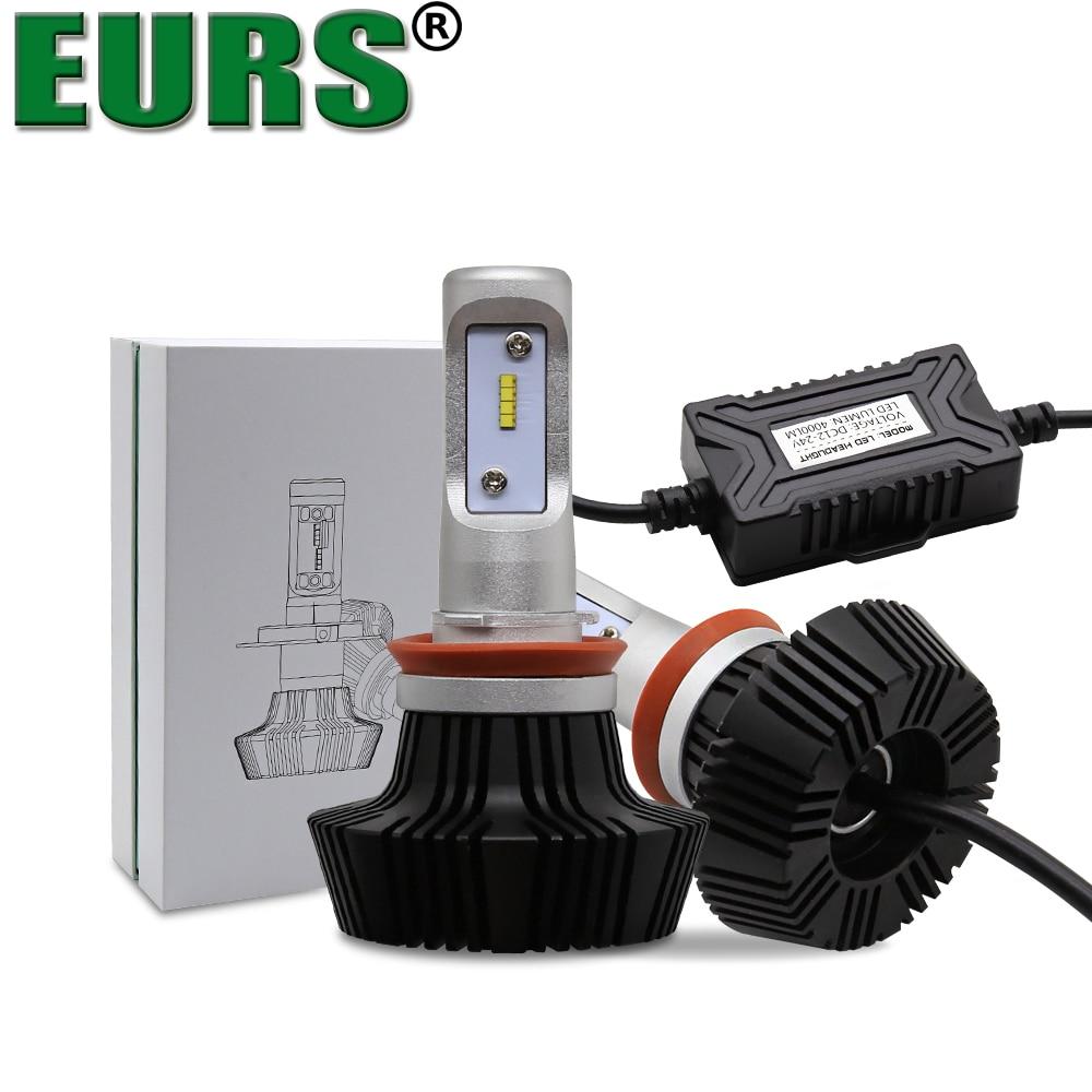 EURS Car Headlight Bulb H1 H3 H4 H7 H11 9005 HB3 9012 9006 HB4 LED Headlight Auto Kit LUXEON ZES LUMILED Chips 6500K 50W 8000LM стоимость