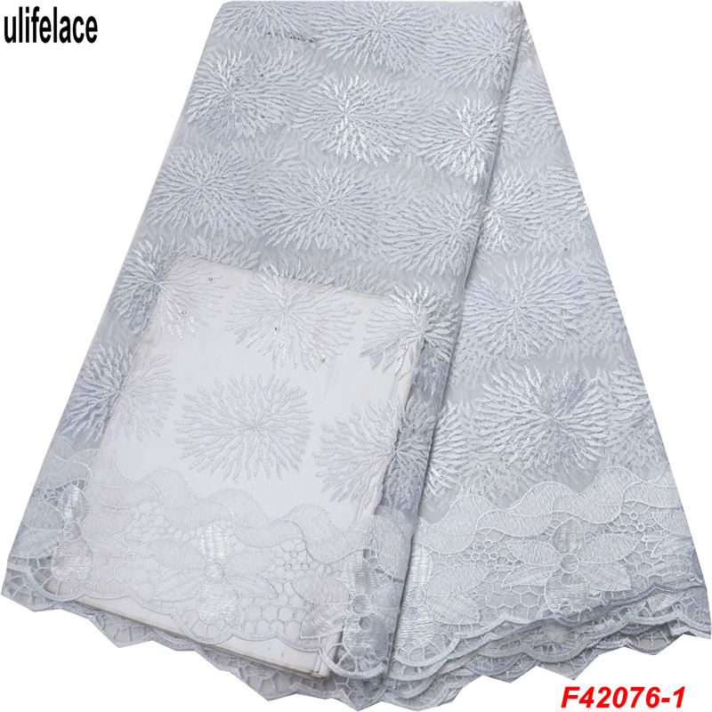 Best selling White Colors design Nigerian French Net Lace Embroidered African Lace Fabrics High Quality Dubai Mesh Lace F49 in Lace from Home Garden