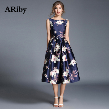 ARiby Women Summer Printed Dress Elegant Maxi Ball Dress New Lady Printed O-Neck Backless Sleeveless Knee-Length Dresses vestido new slender and large size printed dresses for women in summer of 2019 fashion new type a medium length dress sexy top