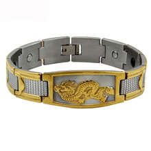 2016 Mens Golden Chinese Power Dragon Strong Magnetic Energy Powe Bangle Stainless Steel Bracelet TG4330 Free Shipping