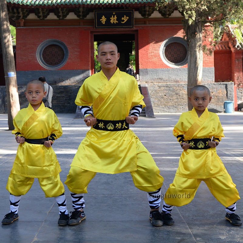 Yellow Satin Shaolin Monk Uniform Martial Arts Robe Wushu Tai Chi Clothing Kung Fu Clothes