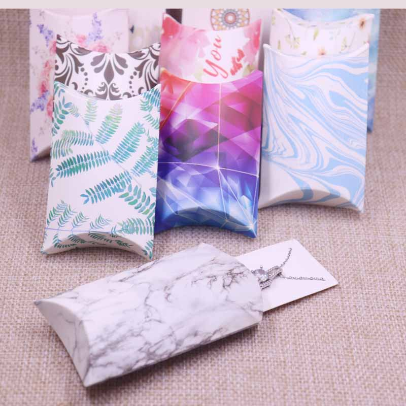 24pcs/1lot Wholesale Pillow Shape Jewelry&Necklace&Earring Display Box Original Designs Flower Pattern Gift Box 20x55x80mm