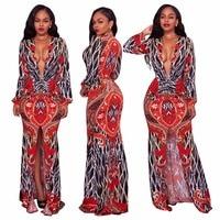 2018 Autumn Fashion Vintage Maxi Dresses Long Sleeve Printed Plunging V Neck High Legs Dashiki Dress Women Elegant Party Dresses
