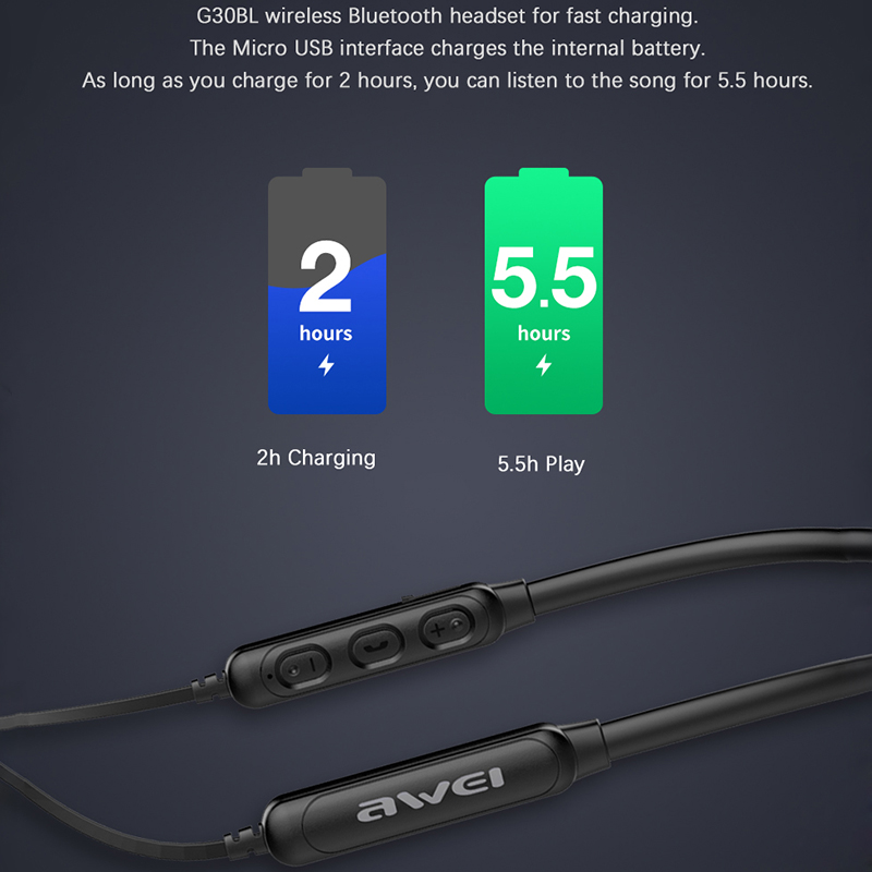 AWEI G30BL Neckband Bluetooth Headphone Magnetic Bluetooth Earphone Sport with mic Stereo Wireless Headset for phone Earbuds 5
