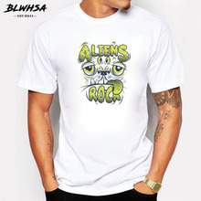 BLWHSA Impression Style Men T-shirt Aliens Rock Animals Printed Summer Cool Casual Cotton T Shirt for Men Tops Tees
