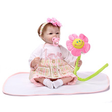 20″ Lifelike Reborn Baby Silicone Girl Doll Real Look Kids Playmate Toys Gifts Home Decorations