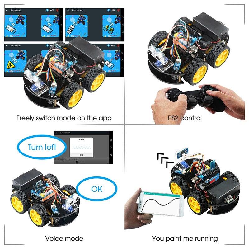 Emakefun Für Arduino Roboter 4WD Autos APP RC Fernbedienung Bluetooth Robotik Lernen Kit Pädagogisches Stem Spielzeug für Kinder Kid - 3
