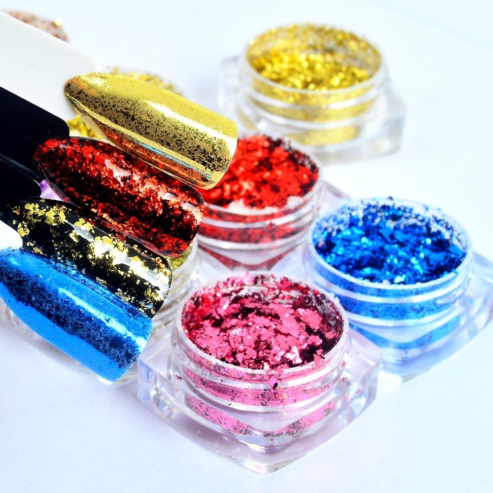 10 Colors Flakes Laser Nail Glitter Mirror Powder Irregular DIY Aluminum Sequins For Nail Tips Nail Art Decorations