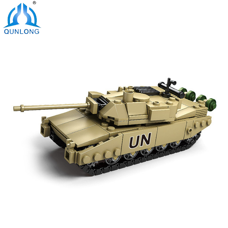 Qunlong Military 4 Styles Building Blocks DIY Army Classic War Tank Bricks Set Educational Kids Toys Compatible Legoe Star Wars kazi military building blocks diy 16 in 1 world war weapons german tank airplane army bricks toys sets educational toy for kids