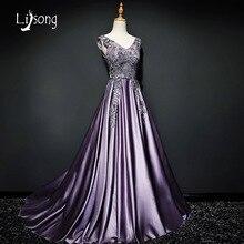 Fabulous Púrpura Appliques Una línea de vestidos de Noche Dresse Largo Mujeres Piso-Longitud Vestido de Noche Formal vestidos de fiesta Vestidos de la Alfombra Roja