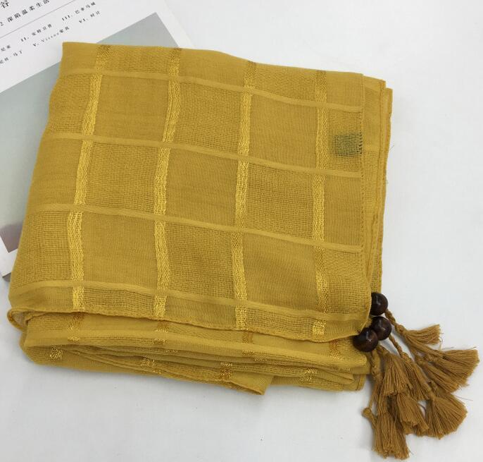 hijab shawl soft   scarf   cotton check tassel arab head   scarf     wrap   shawl 180cm X 90cm 10 colors 10pcs/lot free ship