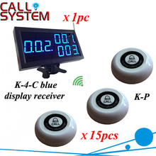 Digital restaurant pager system 1 monitor with 15pcs table buzzer button wireless equipment with CE