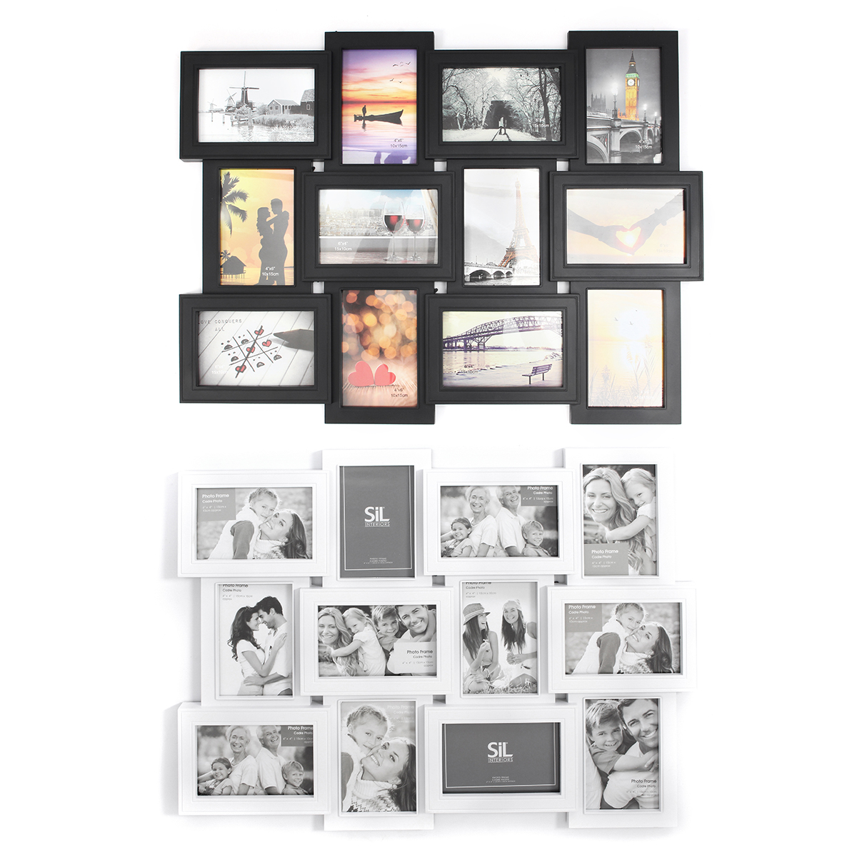 12Pcs/Set Plastic Photo Frame Wall Photo Multi pictures Frame ...