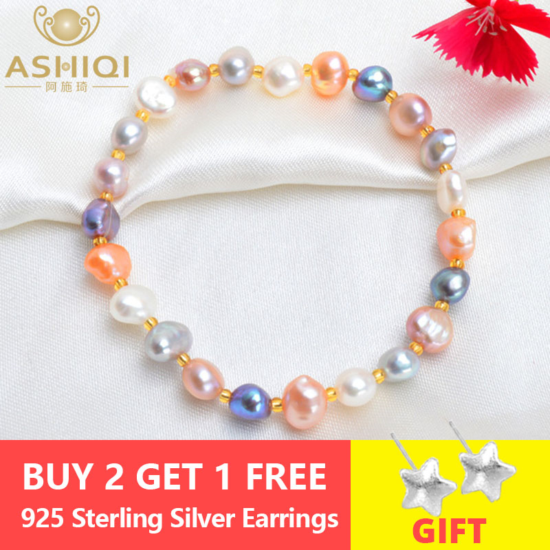 ASHIQI Real Natural Freshwater Baroque Pearl Bracelets & Bangles For Women Crystal Beads Jewelry GiftASHIQI Real Natural Freshwater Baroque Pearl Bracelets & Bangles For Women Crystal Beads Jewelry Gift