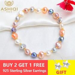 ASHIQI натуральным пресноводный барочный жемчуг браслеты для женщин Кристалл бусины ювелирные изделия подарок