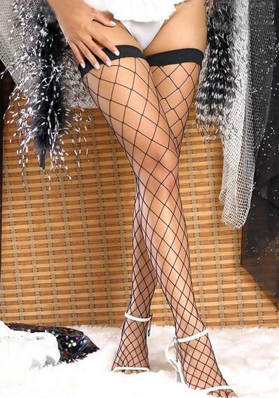 2019 NEW BLACK LARGE MESH FISHNET THIGH HIGH STOCKINGS