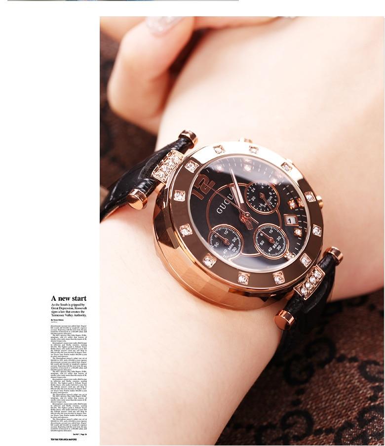 Mode GUOU Marke Weiblichen Echtem Leder Uhren Top Quaity Frau Wasserdichte Luxus Student Damen Kleid Uhren Mit Kalender