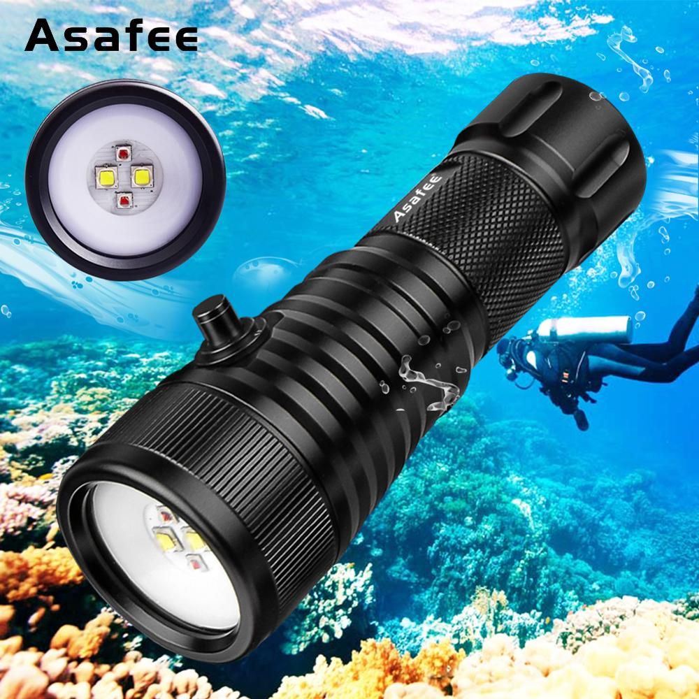 Asafee DIV08W LED Photography Diving Video Light Torch White Red Underwater Videoprapher Fill Light Wider Beam