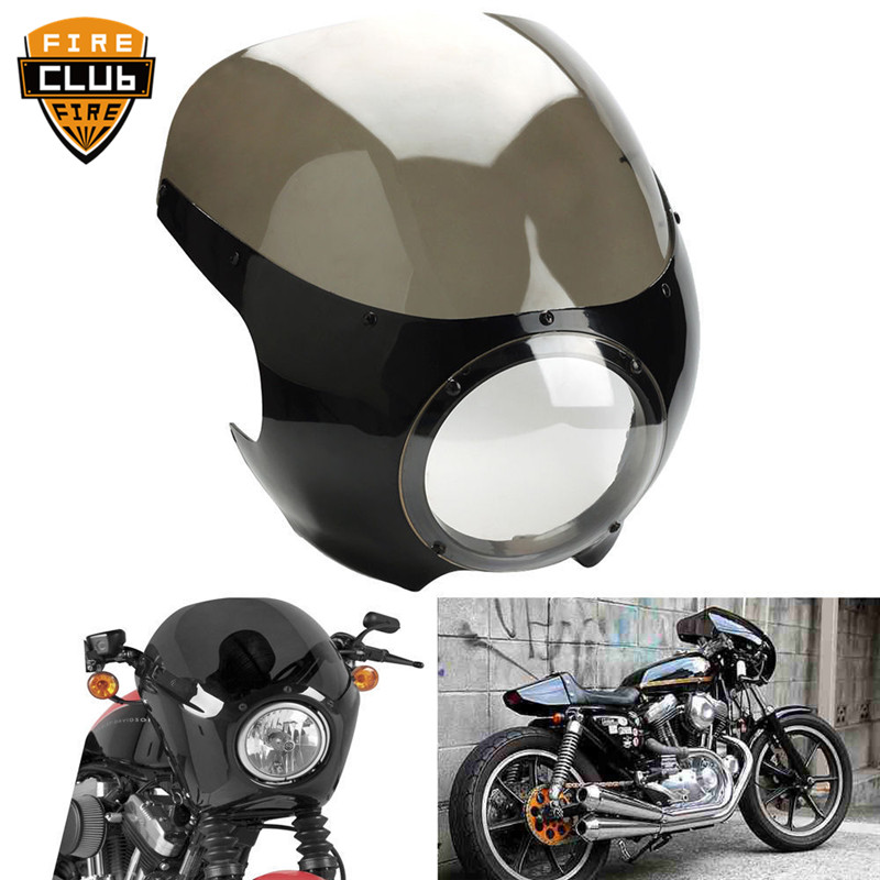 Motorcycle Cafe Racer Head Light Fairing Front Light Cowl Visor 5 3/4 Fairing For Harley Sportster XL 883 1200 72 Dyna Motorcycle Cafe Racer Head Light Fairing Front Light Cowl Visor 5 3/4 Fairing For Harley Sportster XL 883 1200 72 Dyna