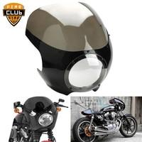 Motorcycle Cafe Racer Head Light Fairing Front Light Cowl Visor 5 3/4 Fairing For Harley Sportster XL 883 1200 72 Dyna
