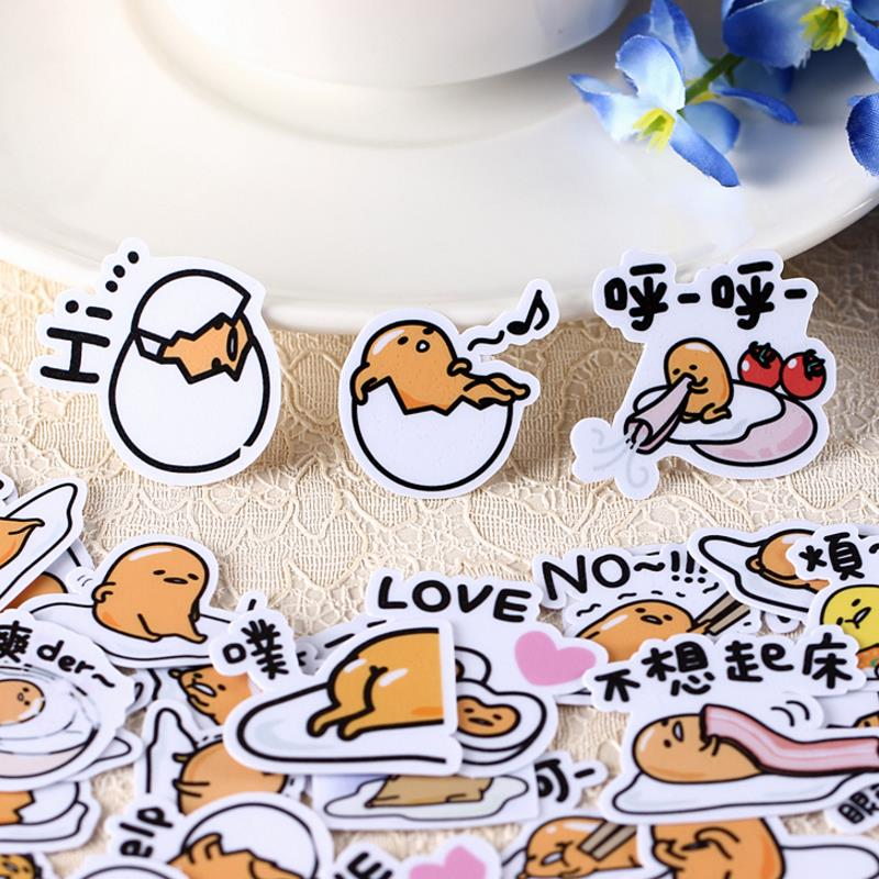 40pcs/pack Kawaii Japanese Anime Lazy Egg Gudetama Stickers Scrapbooking Stick Label Diary Album Stickers Classic Toy Gift