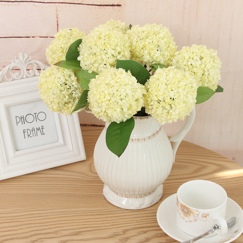 Mini ball hydrangea flowers artificial flower simulation snowball mini ball hydrangea flowers artificial flower simulation snowball small potted plants decorative potted plant yellow fake flower in artificial dried mightylinksfo
