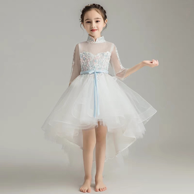 купить Children Toddler Elegant Embroidery Flowers Birthday Wedding Party Tail Dress Kids Girls Evening Party Piano Pageant Prom Dress недорого