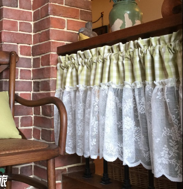 Active Cabinet Curtain Pastoral White Lace Green Plaid Short Curtain Door Decoration Half Kitchen Curtain For Living Room Bathroom Aa51 Good For Antipyretic And Throat Soother Home & Garden