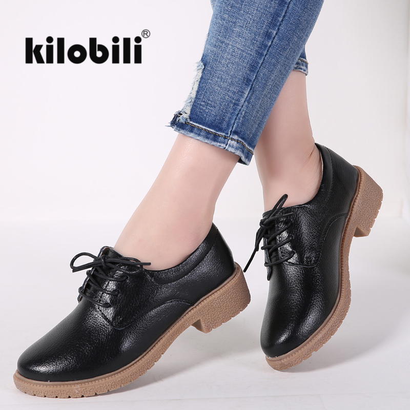 kilobili Women Flats Leather Oxford Shoes For Womer Vintage flat Shoes Med Heels Round Toe Handmade