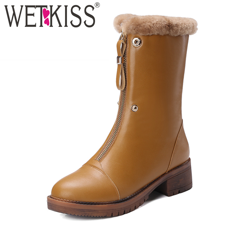 WETKISS High Quality Fur Lining Snow Boots Winter Warm Front Zip Female Shoes Woman Genuine Leather Ankle Boots Square Heels цены онлайн