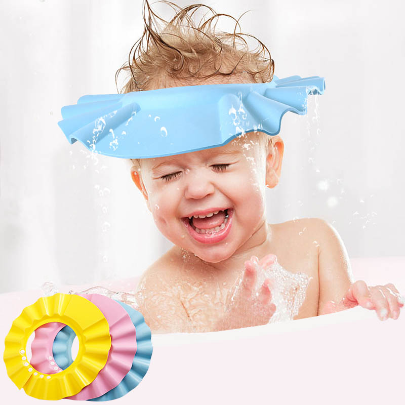 2017 Hot Adjustable EVA Soft Baby Shower Cap Children Shower Cap Baby Care Bath Protection For Kids 10-031