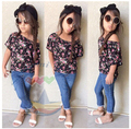 girls jeans set children's clothing female child casual short-sleeve denim twinset girls cotton suits baby 2 pcs sets 6sets/lot