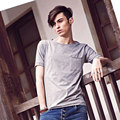 Summer New Arrival Men T-shirt  2017 Casual Men Tops Short Sleeve Crew Neck Fashion Teenage Shirt Gray Cotton Spandex
