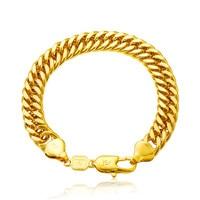 Thick double cuban chain bracelet  yellow gold filled mens punk bracelet gift