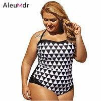 Aleumdr Black White Graphic Print Bandeau 1 PC Plus Size Swimwear