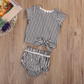 2017 New Cute Newborn Baby Girl Clothes Short Sleeve Striped Cotton Bow T-shirt+Striped Shorts Outfits Sunsuit Striped Set
