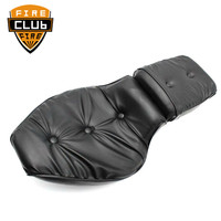 Black Leather Driver & Passenger Cushion Seat 2 up Motorcycle For Honda 1988 1993 Shadow VLX 600/VT600 Steed 400